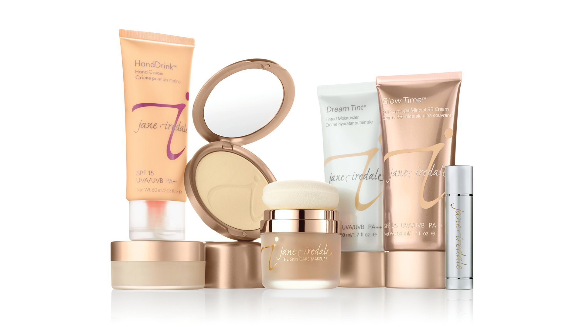jane iredale foundation hand drink dream tint glow time